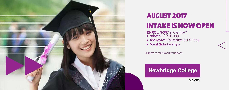 August 2017 Intake Now Open Newbridge College Melaka